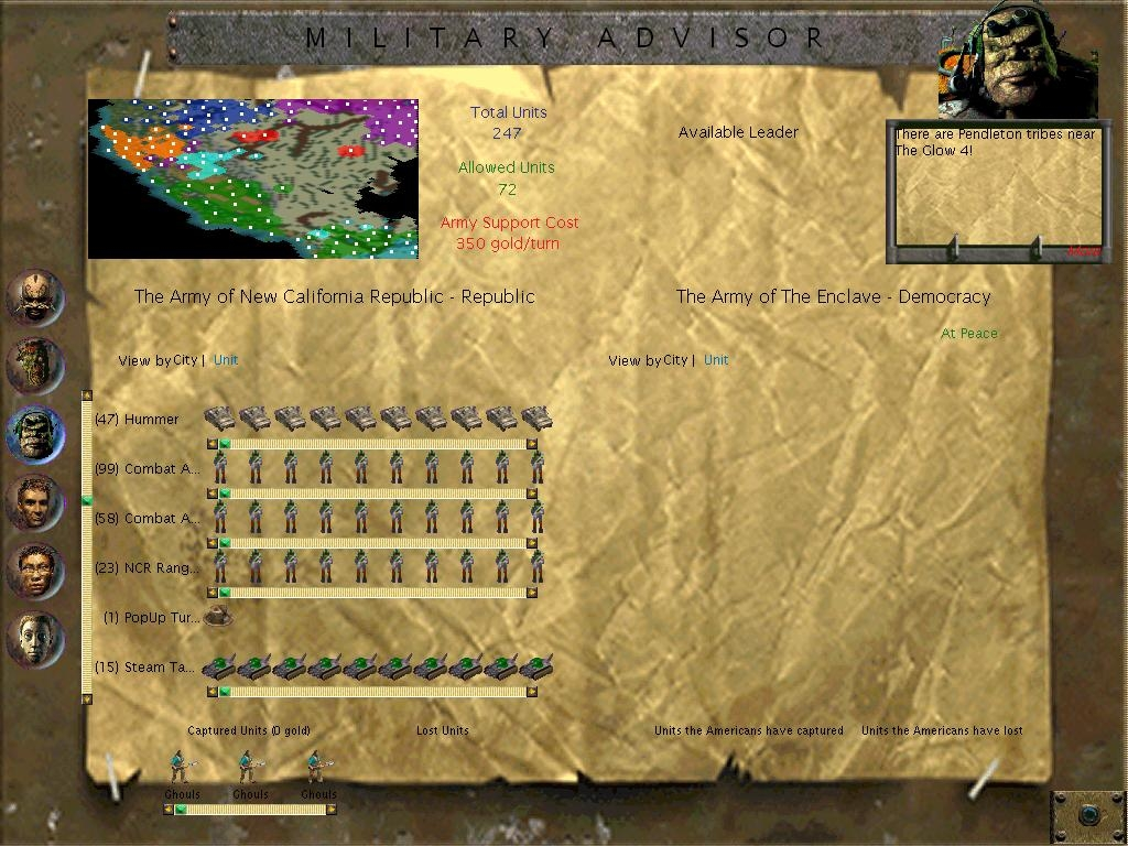 Military overview screen