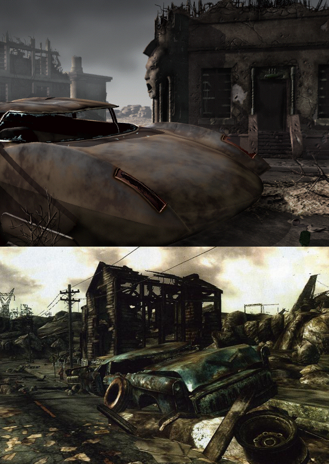 Car/architecture comparison for Fallout 3