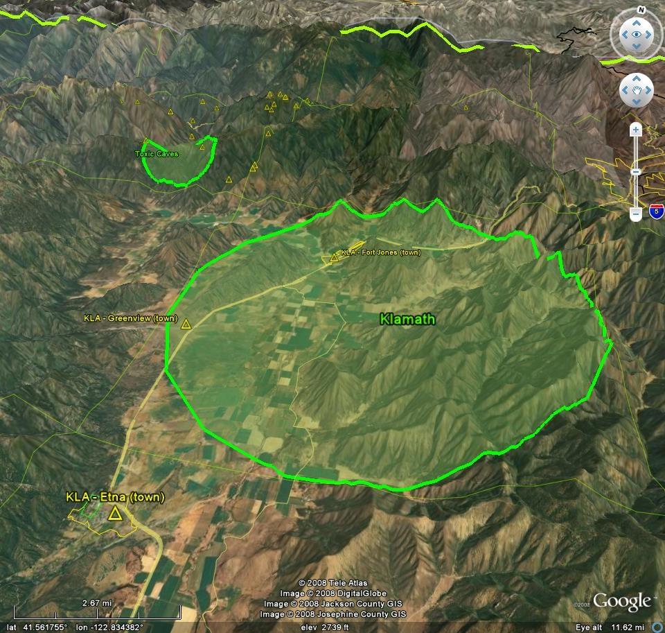 Fallout Atlas for Google Earth - Klamath view