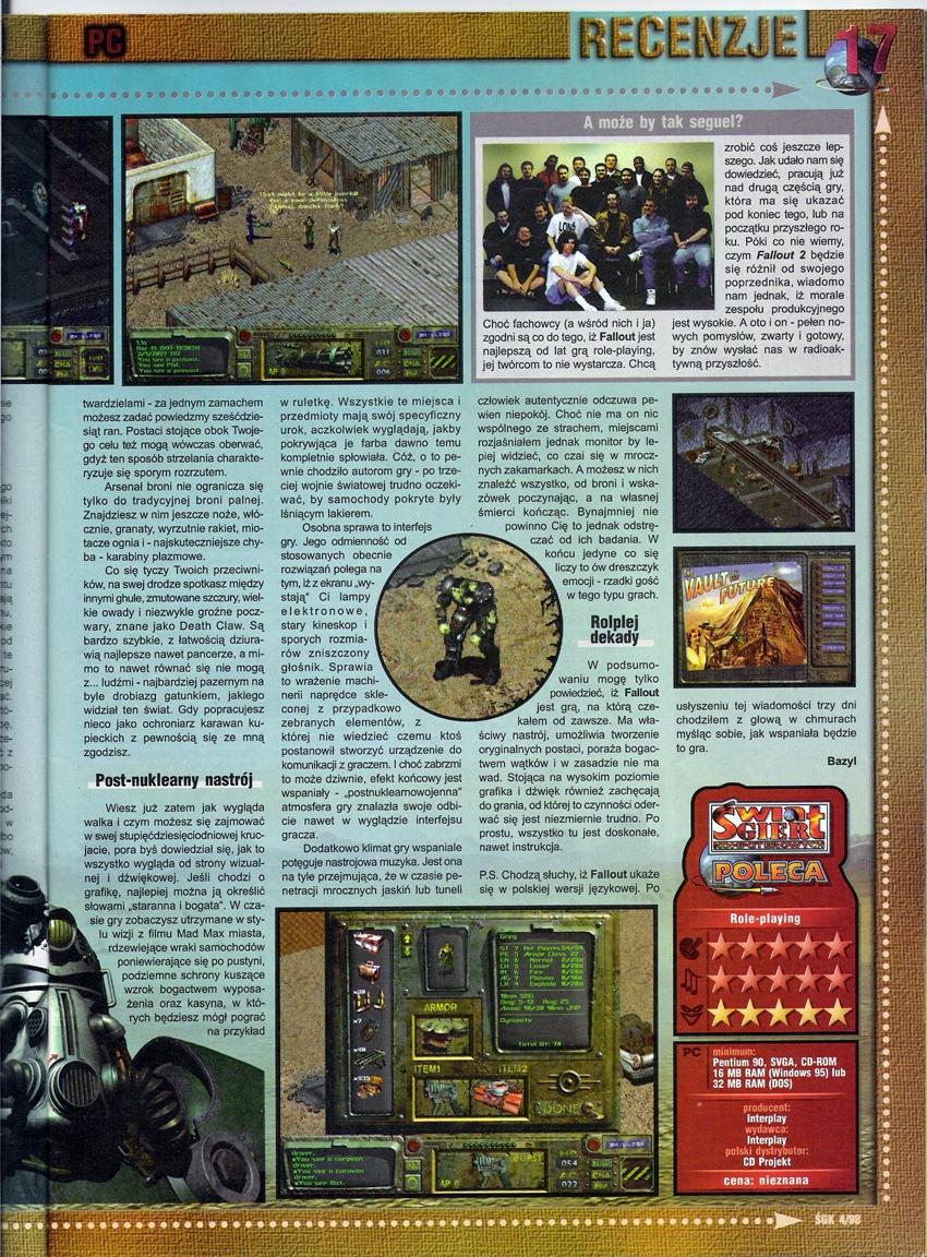 Swiat Gier Komputerowych Fallout review PL (1997)