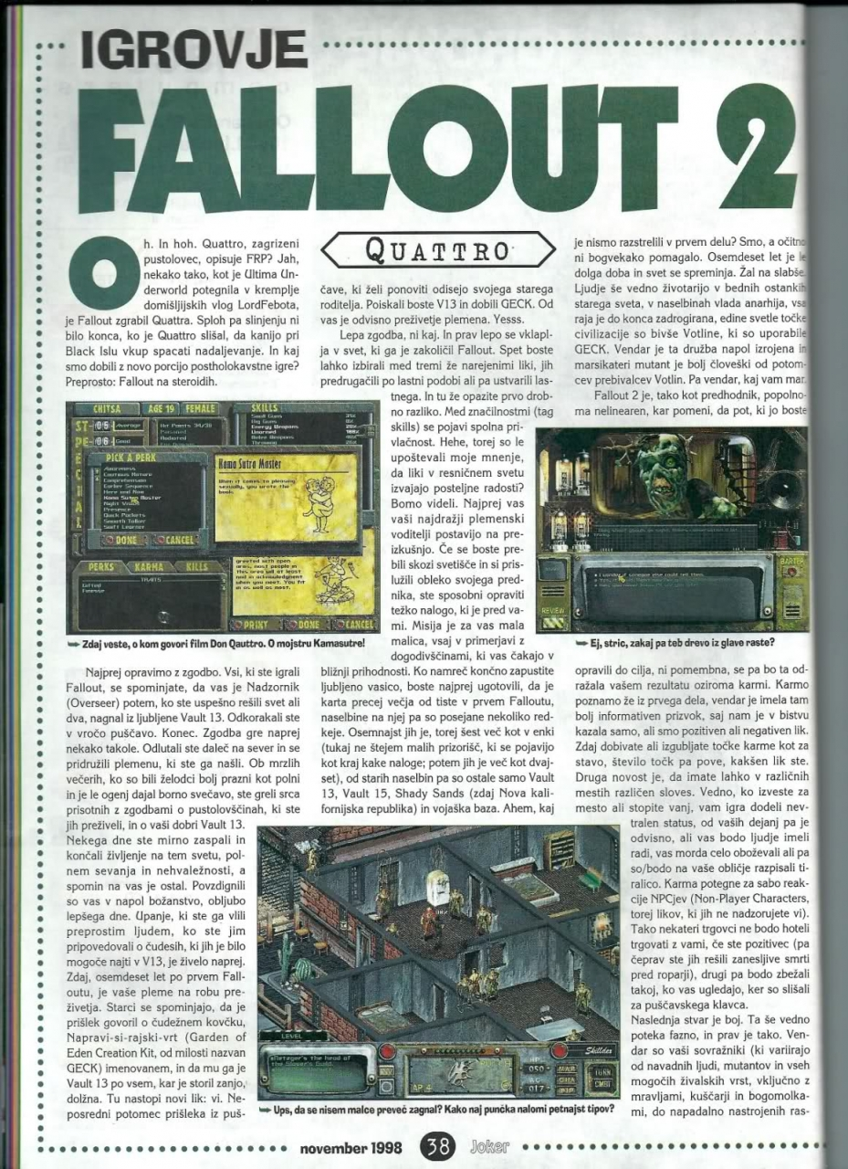 Joker Fallout 2 review (1999) SLO