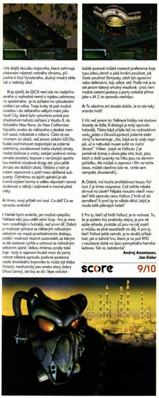 Score Fallout 2 review CZ