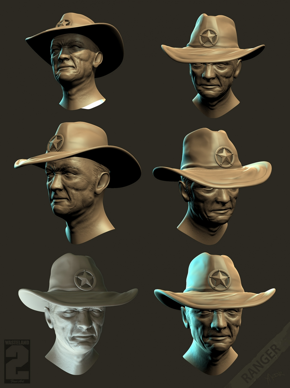 Character research - Ranger - Face variation with angles, relief person, li
