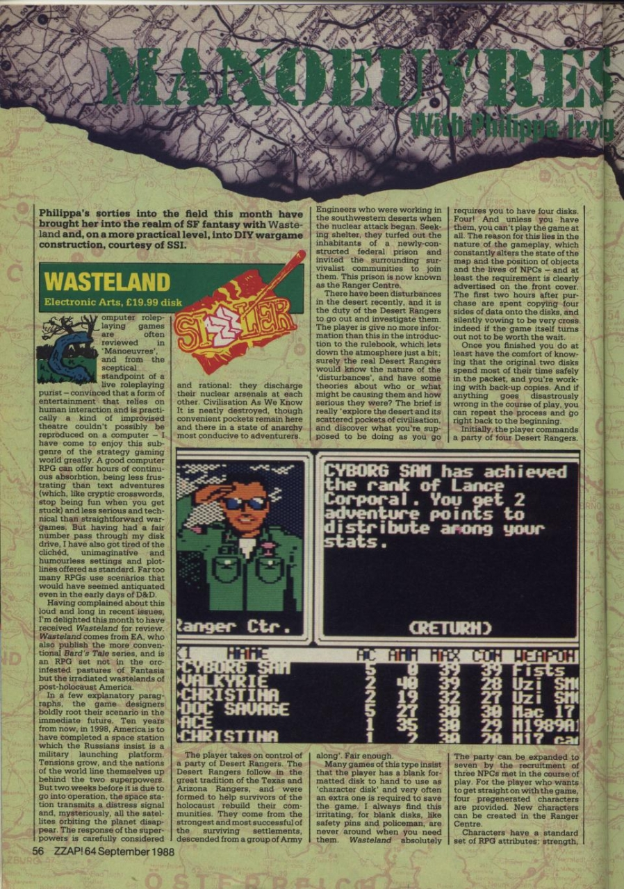 ZZAP Wasteland review September 1988